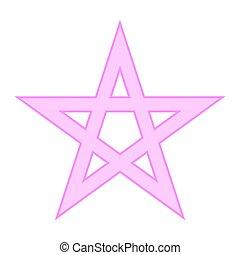 Pentagram symbol icon on white. - Pentagram symbol icon on...