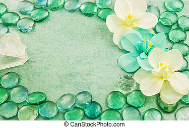 Green glass drops aqua with white flowers orchid and bar of...