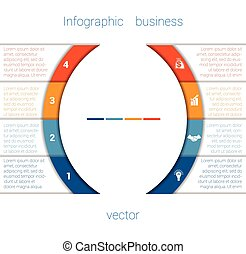 Infographic Strips and semicircle 4 - Vector Template...
