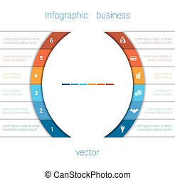 Infographic Strips and semicircle 6 - Vector Template...