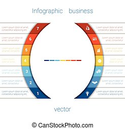 Infographic Strips and semicircle 7 - Vector Template...