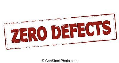 Zero defects - Rubber stamp with text zero defects inside,...