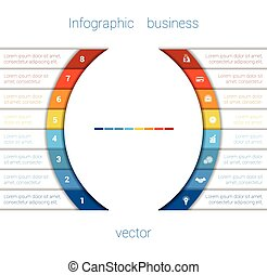 Infographic Strips and semicircle 8 - Vector Template...