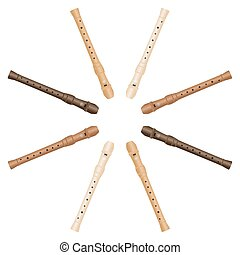 Recorder Octet Star Isolated vector illustration on white...