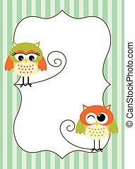 Printable owl label - Scalable vectorial image representing...