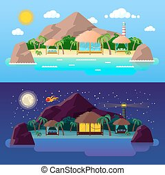 Tropical Island Landscape with Mountains and Bungalows on the Beach at Day and Night. Vector background
