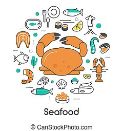 Seafood Thin Line Vector Icons Set with Fish, Shrimp and Crab