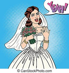 Pop Art Happy Bride with Flowers Bouquet Showing Wedding Ring. Vector illustration
