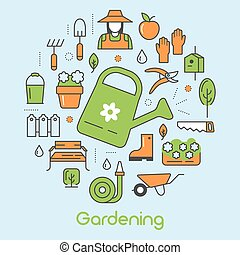 Gardening Thin Line Vector Icons Set with Flowers and...