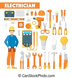 Profession Electrician Icons Set with Voltmeter and Tools....