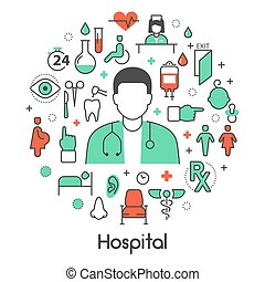 Hospital Medical Thin Line Vector Icons Set with Doctor and...