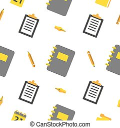 Office Objects Seamless Pattern with Pen and Notepad. Vector background