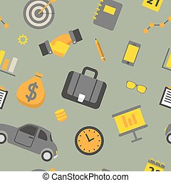 Business Seamless Pattern with Office Elements and Finance Objects. Vector background