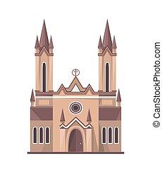 Catholic church icon isolated on white background. Vector...