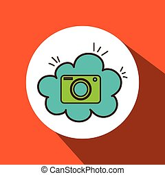 camera photographic cloud icon - camera green photographic...