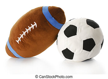 sports balls - stuffed football and soccer ball with...