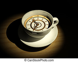 Cup with clock. Eight o\'clock. 3d
