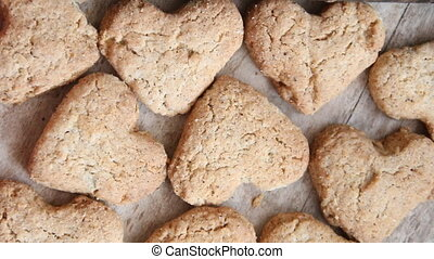 heart cookies on a wooden brown background, Valentines Day idea