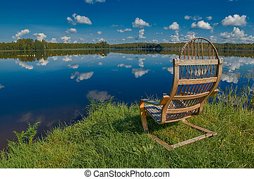 Russian Lake Landscape with Wooden Chair - Idyllic Relaxing...