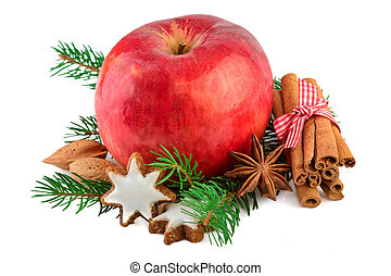 Red apple Christmas decorating farmhouse style rustic still...