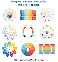 Set Infographics conceptual cyclic processes nine positions...