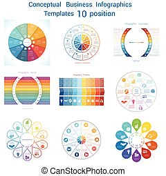 Set Infographics conceptual cyclic processes ten positions -...