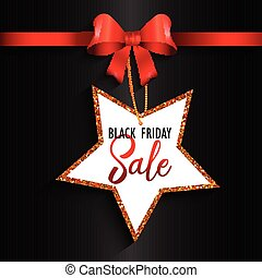 Black Friday sale background with red ribbon and star label