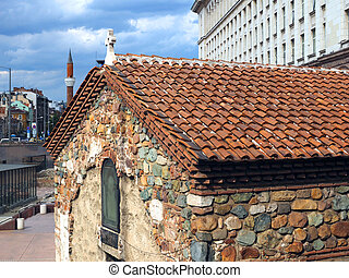 historic church with mosque in background Sofia Bulgaria Europe