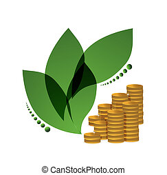 green leaves and gold coins illustration design