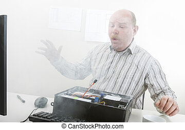 Businessman Blowing Smoke Emerging From Computer Chassis -...