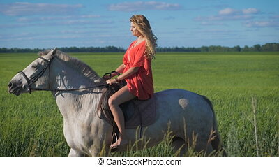 Beautiful blonde girl riding a horse at a countryside....
