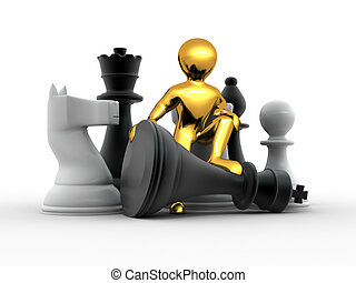Men with chess. 3d