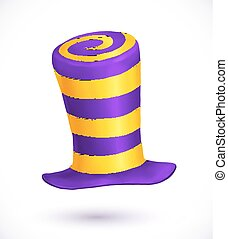 Violet and yellow colors striped realistic vector carnival...