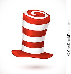 Red and white colors stripes realistic vector carnival hat -...