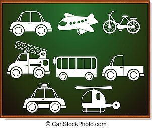Transportations silhouette on blackboard illustration