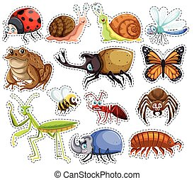 Sticker set of many insects illustration