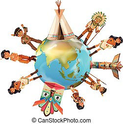 Native american indians around the world illustration