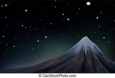 Night scene with mountain and stars