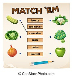 Matching game with fresh vegetables illustration