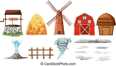 Set of farm elements and weathers illustration