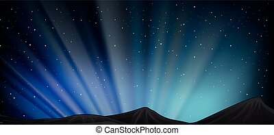 Background scene with mountain at night