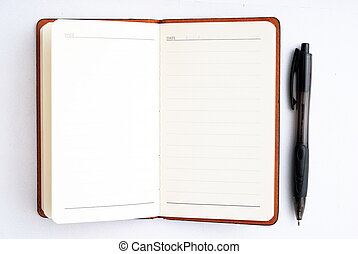 notepad with pen isolated