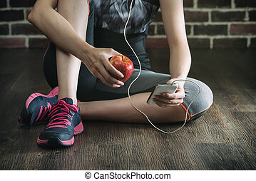 take rest listening to music eating apple after fitness...