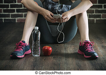 take rest listening to music drinking water eating apple...