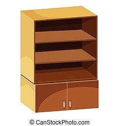 Wardrobe with shelves icon, cartoon style - Wardrobe with...