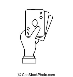 Hand with playing cards icon, outline style - Hand with...