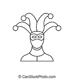 Jester icon, outline style - Jester icon in outline style...