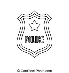 Police shield badge icon, outline style - Police shield...