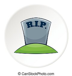 Grave RIP icon, cartoon style