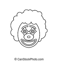 Circus clown icon, outline style - Circus clown icon in...